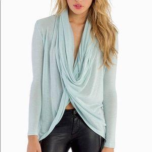 Tobi So Twisted wrap twist cowl drape sweater